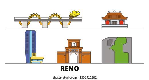 Vietnam, Reno, Danang flat landmarks vector illustration. Vietnam, Reno, Danang line city with famous travel sights, skyline, design.