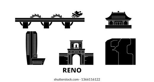 Vietnam, Reno, Danang flat travel skyline set. Vietnam, Reno, Danang black city vector illustration, symbol, travel sights, landmarks.
