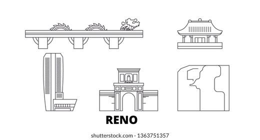 Vietnam, Reno, Danang line travel skyline set. Vietnam, Reno, Danang outline city vector illustration, symbol, travel sights, landmarks.