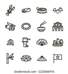 Vietnam Signs Black Thin Line Icon Set Include of Flag, Palace and Boat. Vector illustration of Travel and Tourism Icons