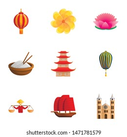Vietnam travel icon set. Cartoon set of 9 vietnam travel vector icons for web design isolated on white background