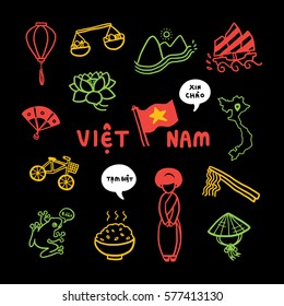 Vietnam travel icon vector. Flag, lantern, street vendor, fan, bicycle, frog, rice, traditional dress, conical hat, chopstick, pho noodle, boat, map, lotus, speech bubble saying Xin Chao and Tam Biet.