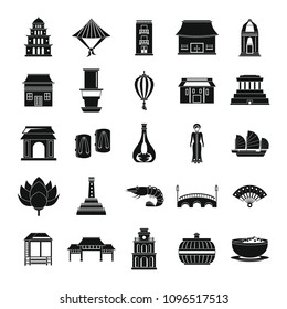 Vietnam travel tourism icons set. Simple illustration of 25 Vietnam travel tourism vector icons for web