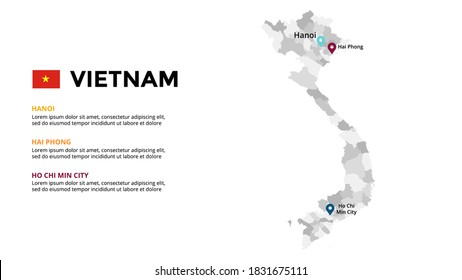 Vietnam vector map infographic template. Slide presentation. Global business marketing concept. Asia country. World transportation geography data.