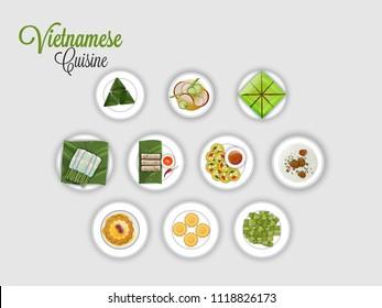 Vietnamese Cuisine on grey background.