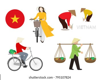 Vietnamese cultural and lifestyle, vector illustrator