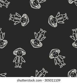 Vietnamese doodle seamless pattern background