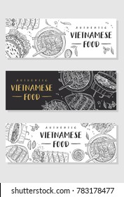 Vietnamese food banner collection. Linear graphic. Vector illustration. Engraved style.