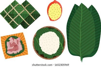 Nourriture vietnamienne avec viande de haricot de riz image vectorielle