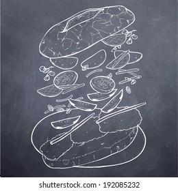 Vietnamese Food Sandwich Chalk Board