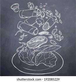 Vietnamese Food Spring Roll Chalk Board