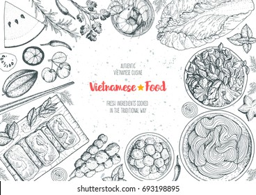 Vietnamese food top view frame. A set of vietnamese dishes. Food menu design template. Hand drawn sketch vector illustration. Engraved style.
