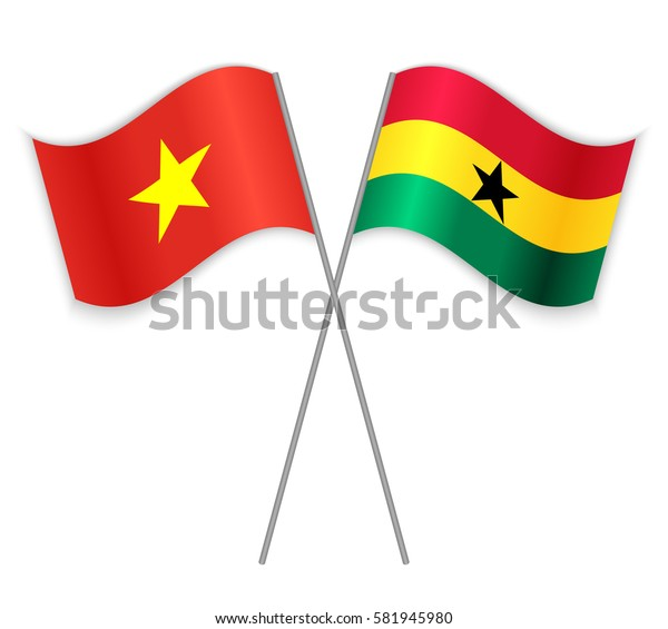 Vietnamese and Ghanaian crossed flags. Vietnam combined with Ghana isolated on white. Language learning, international business or travel concept.