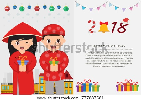 vietnamese kids and happy new year card vector illustration