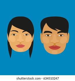 Vietnamese. Man and woman. Vector drawing.