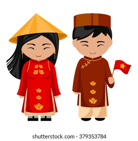 Vietnamese in national dress with a flag. A man and a woman in traditional costume. Travel to Vietnam. People.
