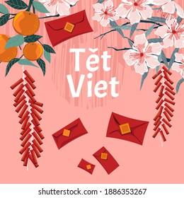 """Le concept de la nouvelle année vietnamienne. Traduction """"Tet"""": Nouvel an lunaire"""
