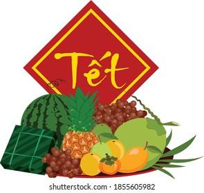 Nouvel an vietnamien avec des fruits