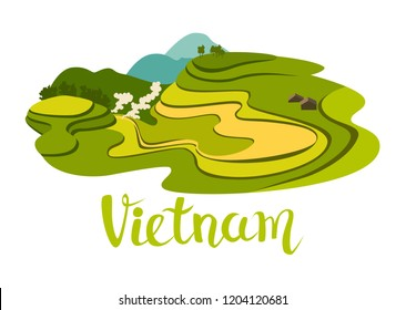 Vietnamese rice field vector icon. Abstract asian meadow with plant. Flat cartoon vector illustration, isolated on white background