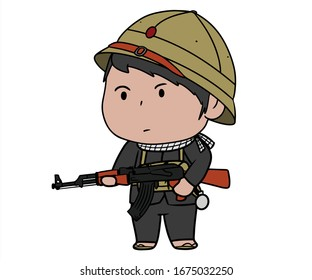 Vietnamese soldier stand with rifle