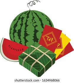 vietnamese tet holiday watermelon vector