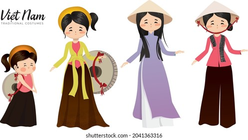 Vietnamese Traditional Costumes. Ao Dai, Ao tu than (four-panel traditional dress), Ao ba ba (loose fitting blouse or Mrs. Ba's shirt).