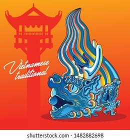 Vietnamese traditional decoration, Vietnamese dragon art, Chiwen illustration vector art