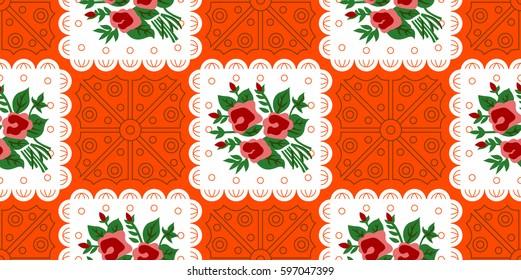 Vietnamese Vintage Pattern Rose Floral ORANGE Vietnamese Old Paper Pattern used for Tet Holiday & Traditional Festivals