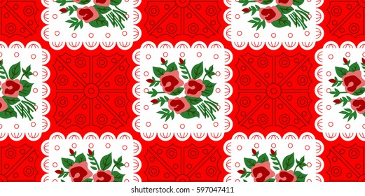 Vietnamese Vintage Pattern Rose Floral RED Vietnamese Old Paper Pattern used for Tet Holiday & Traditional Festivals
