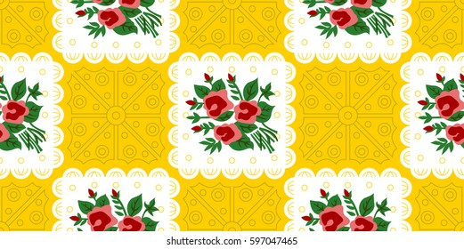 Vietnamese Vintage Pattern Rose Floral YELLOW Vietnamese Old Paper Pattern used for Tet Holiday & Traditional Festivals