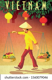 Vietnamese woman carrying fruit baskets at a local market in Vietnam. Travel Poster of Vietnam. Handmade drawing vector illustration. Art Deco style.