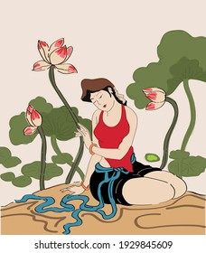 Vietnamese woman with lotus flowers traditional