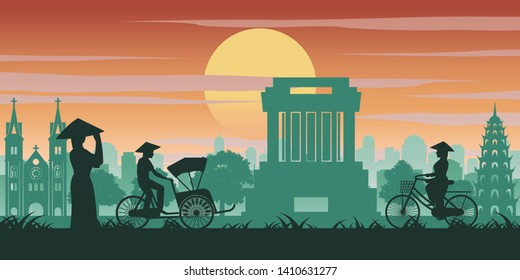 Vietnamese woman and man ride bicycle pass landmark of Vietnam,vintage color with sunset time tone,vector illustration