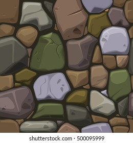 view from above cartoon colors stone texture, seamless background in vector