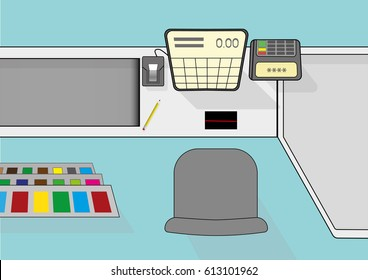 View from above on cash desk work place in supermarket - vector illustration