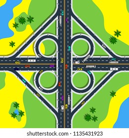 View from above of road junction surrounded by plants and ponds. Cloverleaf interchange with roads and loop ramps vector illustration.