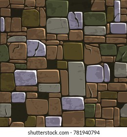 view from above seamless background texture old color stone wall. Vector illustration For Ui Game element