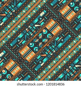 View of abstract computer game. Seampless pattern. Vector illustration