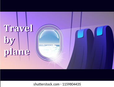 View from the airliner, window, passenger seats. A journey on an airplane. Flat web vector banner illustration.