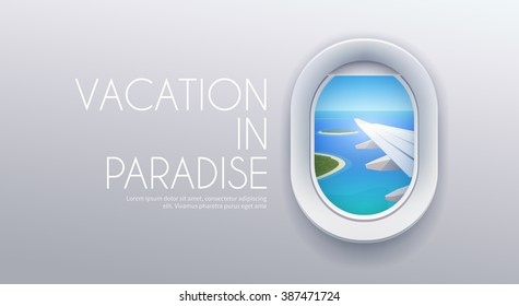 View from airplane. Flight window. Vacation destinations. Tropical beach. Flat web vector banner.