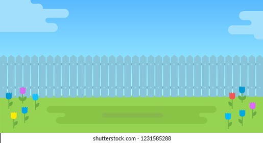 View of the backyard with a fence and flower lawn vector flat icon isolated