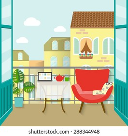 view from the balcony over the town. flat vector illustration