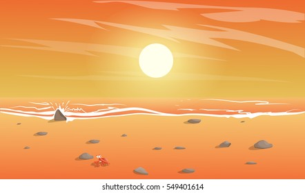 Beach Sunset Drawing Images Stock Photos Vectors