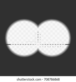 View from the binoculars with measurement marks, isolated on transparent background. Scope template. View through a rifle scope. Vector illustration. EPS 10.