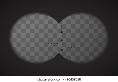 View from the binoculars with signs on transparent background