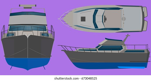 A view of the boat from all sides of a vector template on a white background. The yacht is isolated. Side view front, rear and top.