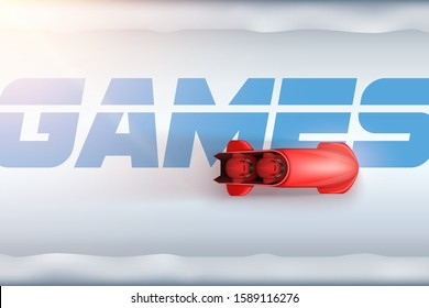 View of Bobsleigh Track with red bobsled and athletes in motion. Vector Illustration Background