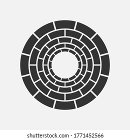 View from the bottom of the well black and white vector icon.