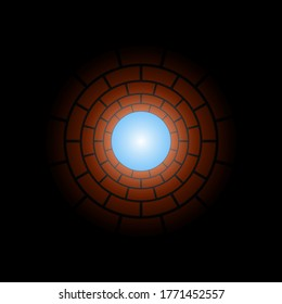 View from the bottom of the well color vector illustration.