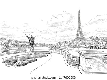 View from the bridge Le Pont de Bir-Hakeim to the Eiffel Tower. Paris, France. Urban sketch. Hand drawn vector illustration